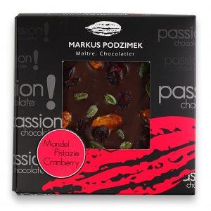 Mandel, Pistazie, Cranberry Edel-Bitterschokolade mit 60% Cacao
