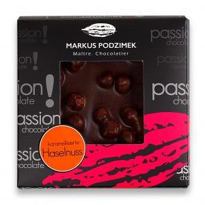 Karamelisierte Haselnuss Edel-Bitterschokolade mit 60% Cacao