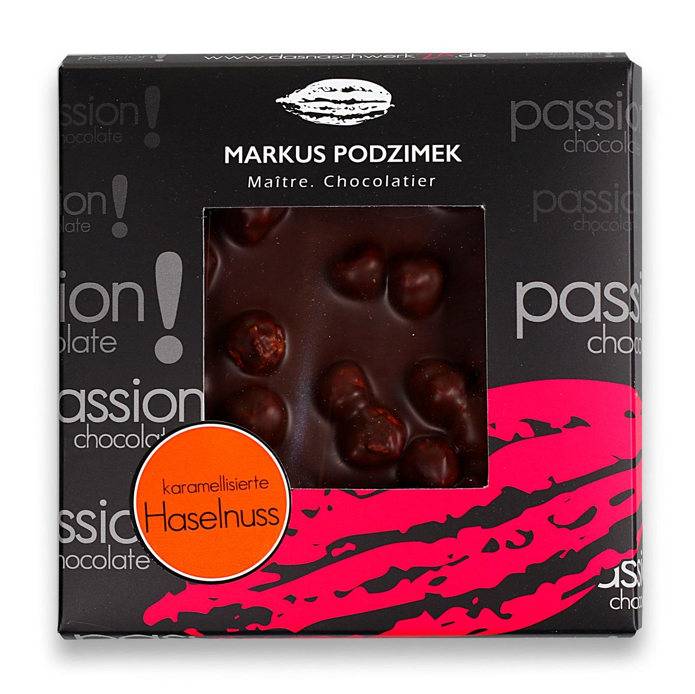 Karamelisierte Haselnuss Edel-Bitterschokolade mit 60% Cacao | dasnaschwerk