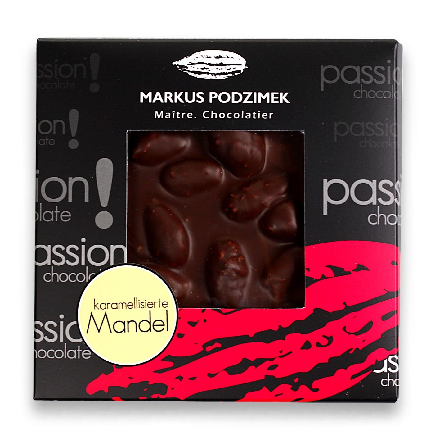 Karamelisierte Mandel Edel-Bitterschokolade mit 60% Cacao | dasnaschwerk