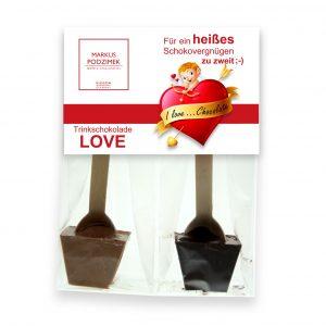 Love Vollmilch u. Zartbitter- Trinkschokolade am Löffel